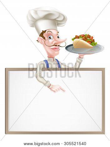 An Illustration Of A Cartoon Chef Kebab Sign
