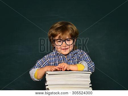 Kids School. Cute Little Preschool Kid Boy In A Classroom. Schoolboy. Home Schooling. Blackboard Bac