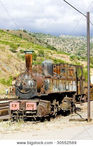 old locomotive in Tua, Douro Valley, Portugal poster