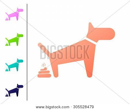 Coral Dog Pooping Icon Isolated On White Background. Dog Goes To The Toilet. Dog Defecates. The Conc