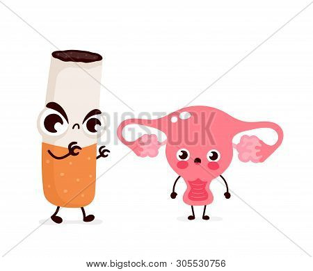 Angry Scary Cigarette Kill Uterus Character. Vector Flat Cartoon Illustration Icon Design. Isolated