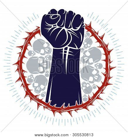 Strong hand clenched fist fighting for freedom against blackthorn thorn slavery theme illustration, vector logo or tattoo, through the thorns to the stars concept. poster