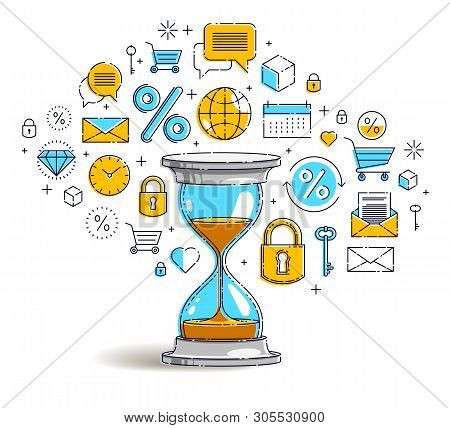 Time Is Money Concept, Hourglass Icons Set, Sand Watch Timer Deadline Allegory, Vector Design.