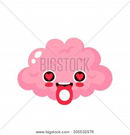 Ecstasy MDMA pill on brain tongue. Vector modern flat style cartoon character illustration. Brain on psychedelic,euphoria party drugs.Isolated on white background poster