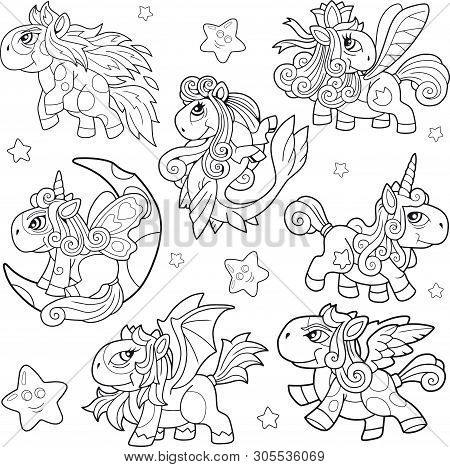 Cartoon Cute Little Pony Coloring Book Funny Illustration