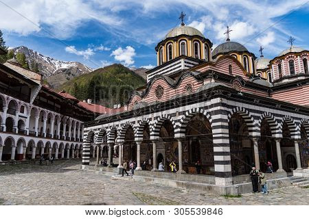 Rila, Bulgaria - May 3, 2019: Rila Monastery, Bulgaria. The Rila Monastery Is The Largest And Most F