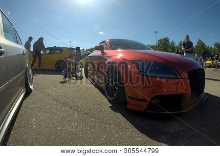 Moscow, Russia - June 01, 2019: Red Modified Audi Tt Parked On The Street. Car Tuned By Low Air Susp