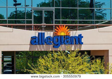 Summerlin - Circa June 2019: Allegiant Air Corporate Headquarters. Allegiant Air Serves 122 Destinat