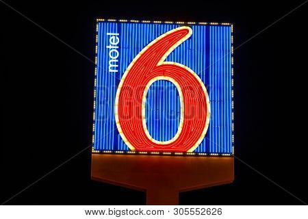 Las Vegas - Circa June 2019: Motel 6 Logo And Signage. Motel 6 Is A Major Chain Of Budget Motels I