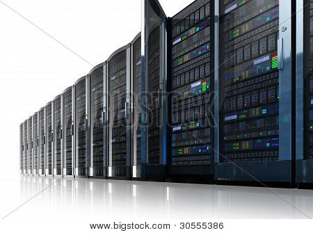 Row of network servers in data center isolated on white reflective background poster