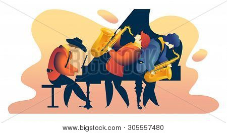 Classic Music Festival Jazz Rock Concert, Jazz Band Vertical Vector Illustration Banner, Orchestra O