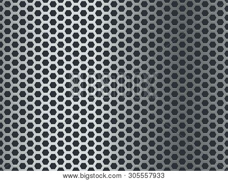 Metal Texture Pattern. Seamless Steel Plate, Stainless Mesh. Chrome Hexagon Mosaic Grunge Aluminum P