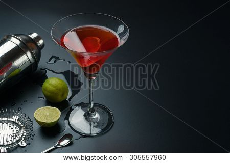 Cosmopolitan Cocktail And Bar Equipments, Stainless Steel Cocktail Shaker And Bar Spoon, The Lemons