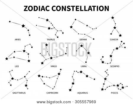 Zodiac Constellation. Aries Taurus Gemini Cancer Leo Virgo Libra Scorpio Pisces Zodiacal Mystic Astr