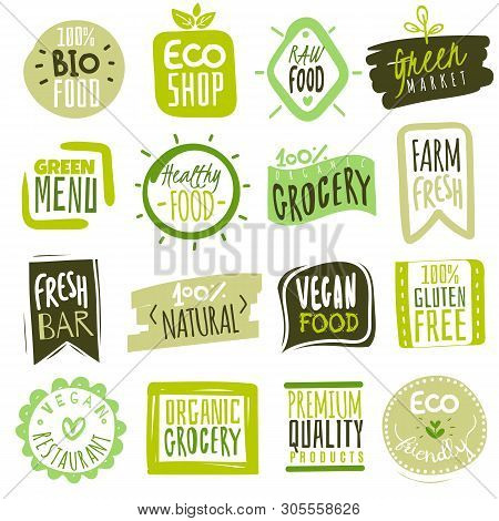 Organic Food Labels. Natural Meal Fresh Products Logo. Ecology Healthy Farm Bio Food Vector Green Pr