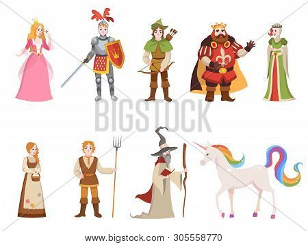 Medieval Historical Characters. Knight King Queen Prince Princess Fairy Royal Castle Dragon Horse Wi