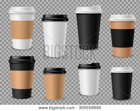 Paper Coffee Cups Set. White Paper Cups, Blank Brown Container With Lid For Latte Mocha Cappuccino D