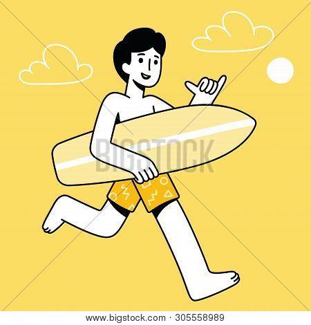 Cartoon Surfer Dude Running With Surfboard Making