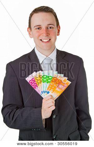 Businessman Holding Eurobanknotes