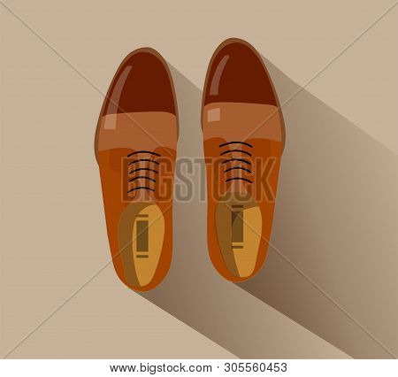 Shoes. Fashion Footwear. Concept Vector Brown Footgear Top View In Flat Style Isolated On Beige Back