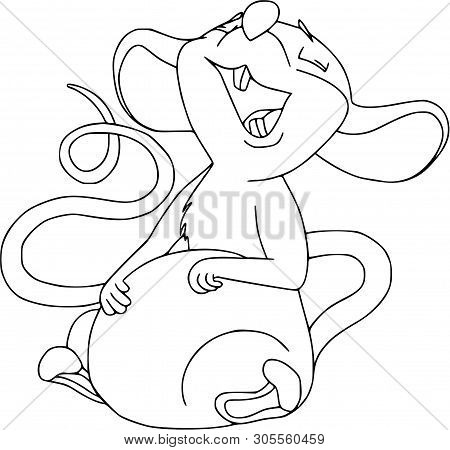 Happy Chinese New Year Calendar, Greeting Card, Cute Mouse, Rat In Poses. Animal Cartoon Set. Laughi