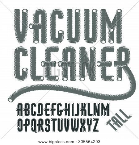 Set Of Condensed, Tall,  Cool Vector Upper Case Alphabet Letters Isolated. Trendy Type Font, Script