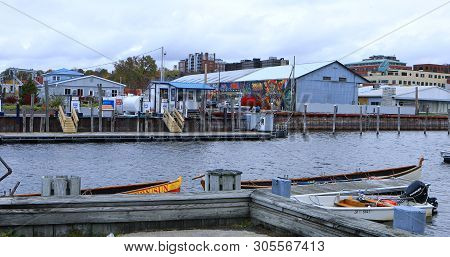 Burlington, Vermont/united States - October 29: A Marina View Of Burlington, Vermont, [october 29, 2