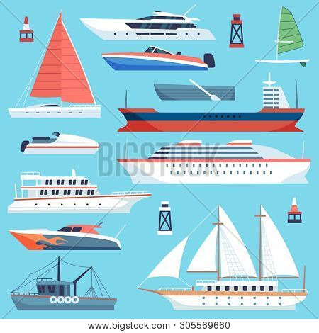 Ships Boats Flat. Maritime Transport, Ocean Cruise Liner Ship, Yacht With Sail. Large Sea Vessels Ca