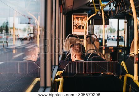 Luxembourg City, Luxembourg - May 18, 2019: People On A Bus In Luxembourg City. The City Has A Netwo