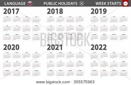 2017-2022 Year Calendar In Slovak Language, Week Starts From Sunday. Vector Calendar.