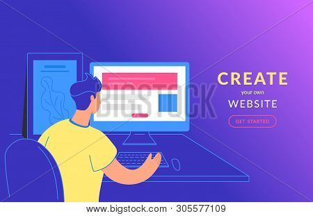 Create Your Own Website Flat Vector Illustration Of Young Man Sitting With Pc And Creating Website W