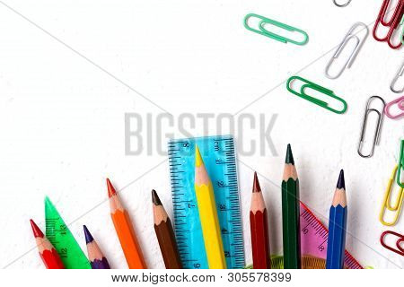 School Supplies. Back To School Concept On White Background Top View Flat Lay