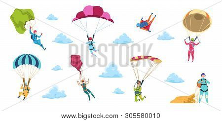 Cartoon Skydivers. Sky Jump With Parachute And Paraglider, Extreme Danger Skydive Falling. Vector Ad