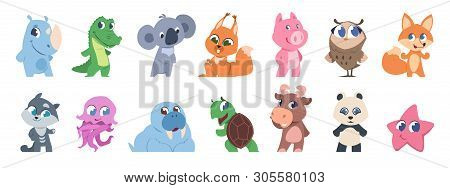 Cute Animals. Cartoon Baby Pets And Forest Wild Animals, Fanny Children Characters. Vector Baby Anim
