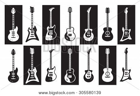 Guitars. Black And White Electric And Acoustic Rock Guitars Of Different Types. Vector Minimalist Is