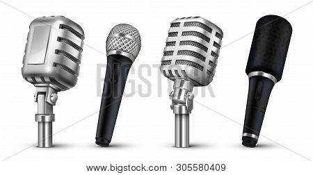 Realistic Microphones. 3d Studio And Scene Audio Equipment, Vintage And Modern Metal Mics Isolated O