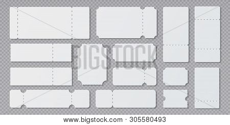Empty Ticket Templates. Lottery Coupon Mockup, Blank Concert And Movie Ticket Layouts. Vector Ruffle
