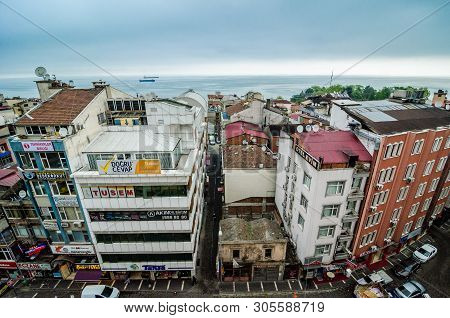 Trabzon, Turkey - May 7, 2017. Roof Top View On Turkish City Trabzon By Black Sea, Asia