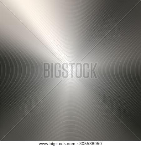 Round Polished Metallic Background Template. Metal Light Texture. Aluminum, Steel, Nickel, Textured