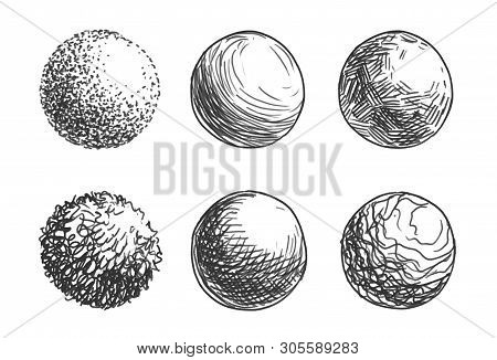 Hand Drawn Shaded Spheres. Simple Gray Scale Doodle Sketches Of Circles With Different Types Of Shad