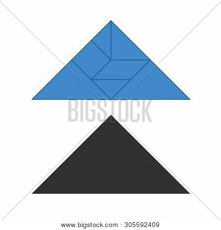 Tangram. Traditional Chinese Dissection Puzzle, Seven Tiling Pieces - Geometric Shapes: Triangles, S