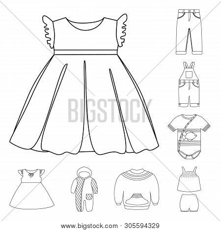 Vector Design Of Wear And Child Icon. Set Of Wear And Apparel Vector Icon For Stock.