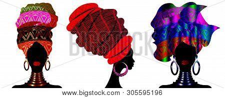 Set African Scarf, Portrait Afro Women In A Striped Turban. Tribal Wrap Fashion, Ankara, Kente, Kite