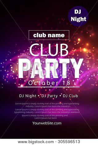 Party Flyer Poster. Futuristic Club Flyer Design Template. Dj Advertising, Digital Creative Club Ent