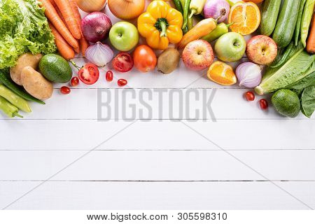 Healthy Lifestyle And Food Concept. Top View Of Fresh Vegetables, Fruit, Herbs And Spices With A Emp
