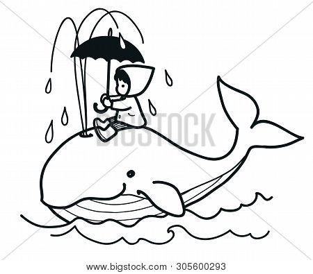 Cute Whale Swims In Ocean Spouting Water, Carrying On Its Back Little Girl In Raincoat With Umbrella