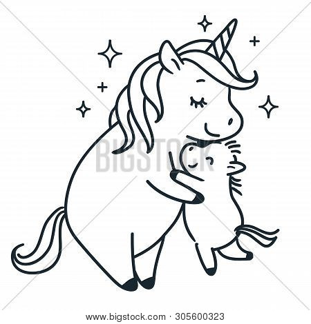 Mother Unicorn Giving A Hug To Her Baby Simple Black And White Doodle Cartoon Vector Character Illus