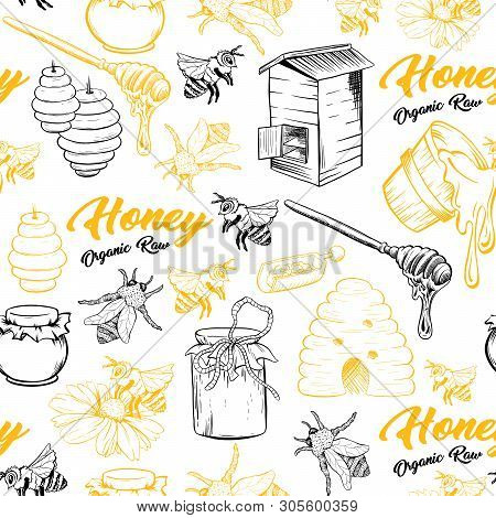 Honey Bee, Honeycomb And Jar Image Seamless Pattern Design In Sketch. Honey Comb, Pot, Bee Hive, Flo