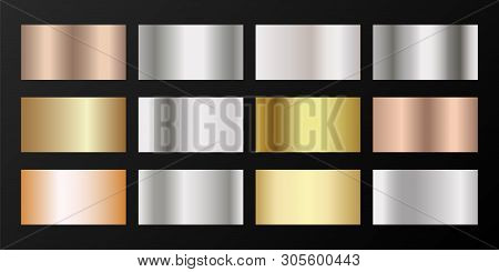 Metallic Gradients Vector Set: Golden, Silver, Platinum, Bronze, Pink Gold. Polished Iron, Chrome, A