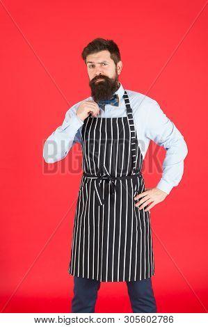 Work Addict. Hipster Wearing Elegant Work Uniform. Cook Or Bartender Doing Routine Work In Restauran